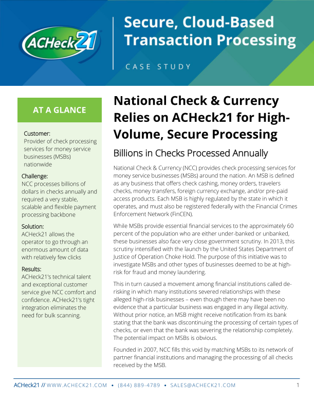 ACH & Check 21 FinTech Payment Processing Solutions